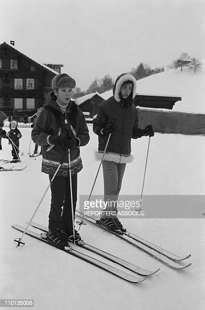 The family of Monaco Prince Albert and Princess Caroline of Monaco on a skiing holiday in Gstaad Switzerland in February 1969