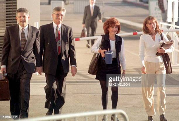 The family of murder victim Ron Goldman and their attorney arrive at the Santa Monica Courthouse where the first day of opening arguements is...