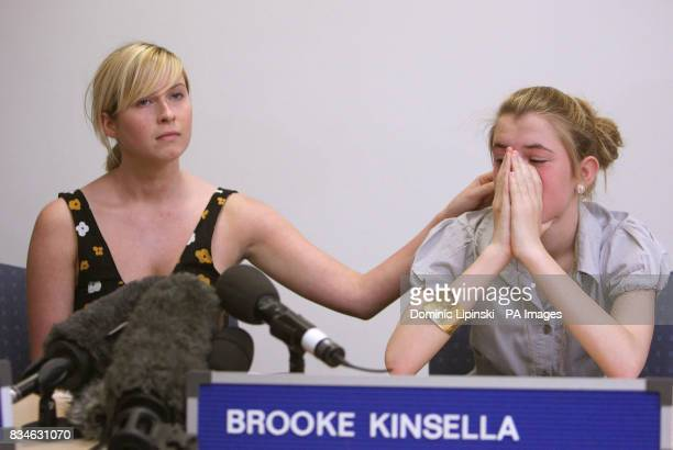 The family of murdered Ben Kinsella Brooke Kinsella with her sister Georgia at a press conference in Barking Essex