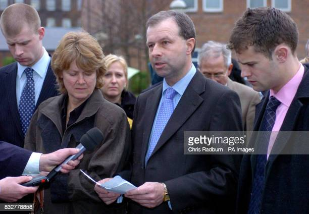 The family of murdered tennager Rebecca Rice brother Domonic mother Anne father Patrick and brother Seb make a statement to the press outside Norwich...