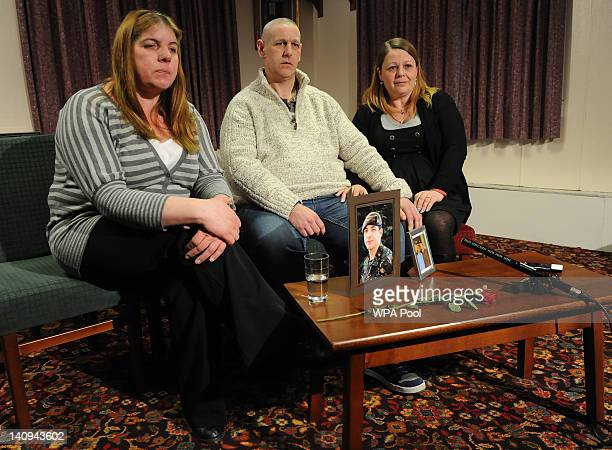 The family of Private Christopher Kershaw mother Monica Kershaw father Brian Kershaw and stepmother Sharon Wood give an interview at the TA Centre on...