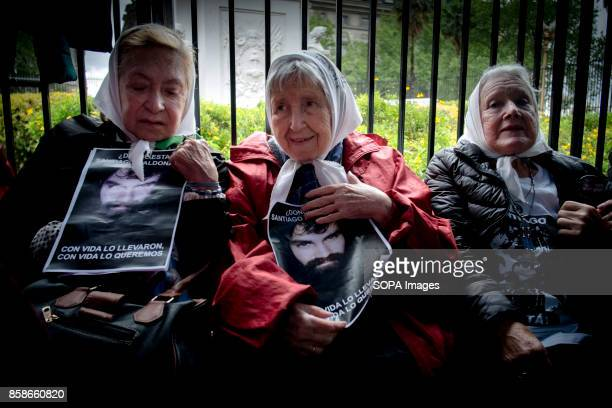 The family of Santiago Maldonado is seen during a protest against the disappearance of Santiago Maldonado since 1 August 2017 Despite the rain...