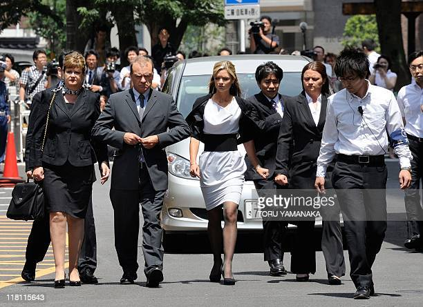 The family of slain 22-year-old British teacher Lindsay Ann Hawker, father Bill Hawker , mother Julia and sisters Lisa and Louise , arrive at Chiba...