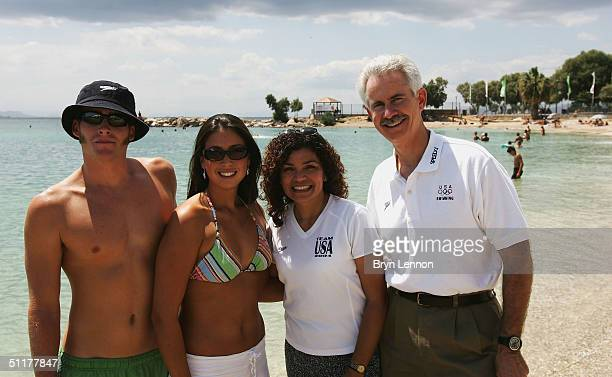 The family of Speedo swimmer Natalie Coughlin mother Zennie father Jim and sister Megan pose for a photograph with Natalie's boyfriend Ethan Hall...