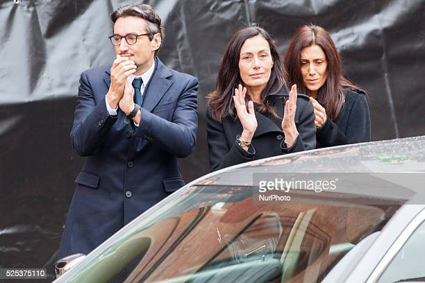 The family of the founder of Ferrero Giovanni his wife Paola and Luisa during the funeral on February 18 2015 in Alba northern Italy Billionaire...