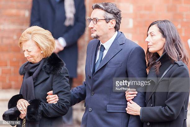The family of the founder of Ferrero Giovanni his wife Paola and Maria Franca during the funeral on February 18 2015 in Alba northern Italy...