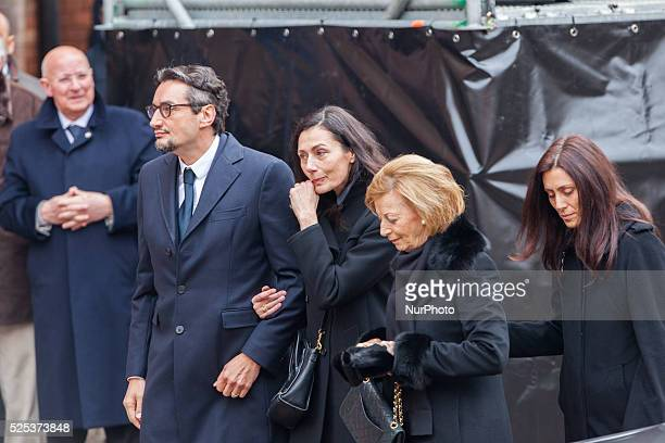 The family of the founder of Ferrero Giovanni his wife Paola Luisa and Maria Franca during the funeral on February 18 2015 in Alba northern Italy...