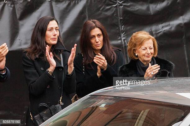 The family of the founder of Ferrero the wife of Giovanni Paola Luisa and Maria Franca during the funeral on February 18 2015 in Alba northern Italy...