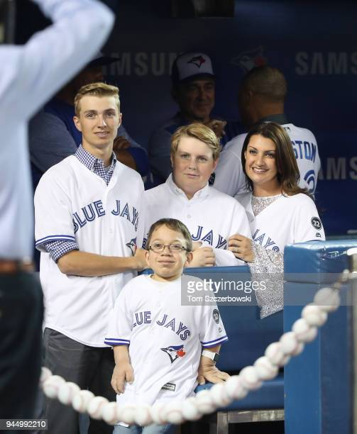 The family of the late Roy Halladay of the Toronto Blue Jays wife Brandy Halladay and their two sons Braden and Ryan and a member of Doc's Box for...