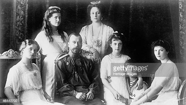 The Family of Tsar Nicholas II of Russia 1910s The Tsar Tsarina Alexandra and their children Grand Duchesses Olga Tatiana Maria Anastasia and the...