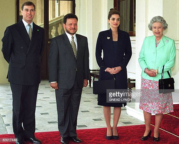 The family photograph from left to right shows Britain's Prince Andrew King Abdullah of Jordan Queen Rania and Britain's Queen Elizabeth at...