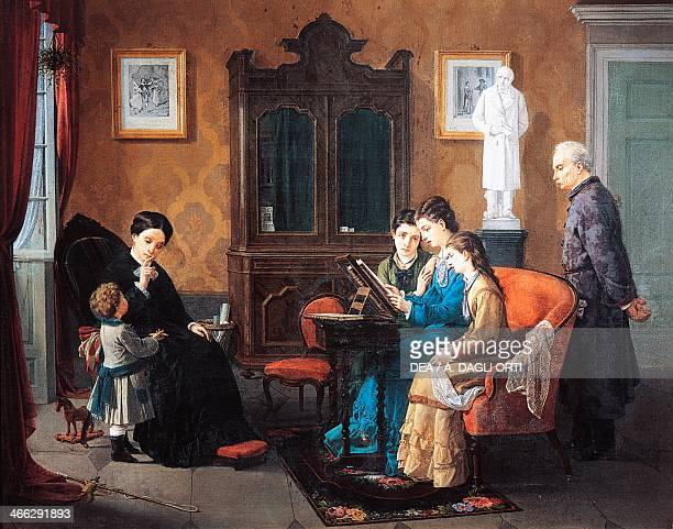 The family reading The Betrothed painting by Emilio de Amenti , oil on canvas 5x160 cm.