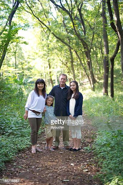 The family who is in forest ,The family in green