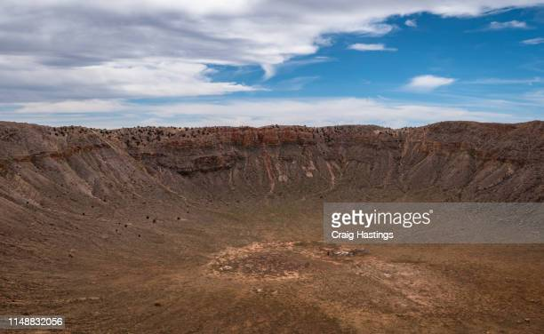 WINSLOW, USA - APRIL 15, 2019: The famouns meteor crator impact site near Winslow Arizona. Top tourist attraction