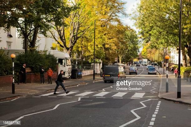 The famous Abbey Road zebra crossing near the Abbey Road Studios on October 19 2012 in London United Kingdom