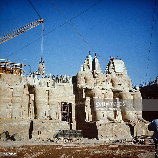 The famous Abu Simbel temples in Egypt before they were removed to their new site 1972