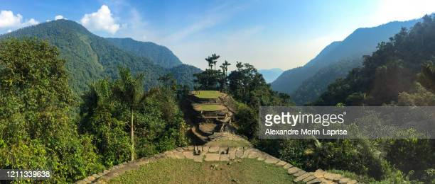 the famous and tourist tayrona park, the ciudad perdida (lost city) in magdalena / colombia, full of nature, vegetation, history and culture - colombia stock pictures, royalty-free photos & images