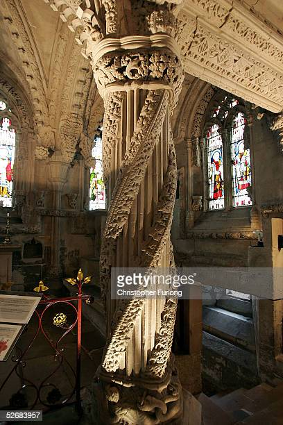 The famous Apprentice's Pillar of Rosslyn Chapel is pictured on April 22 2005 in Roslin Scotland The number of visitors to the remote Scottish church...