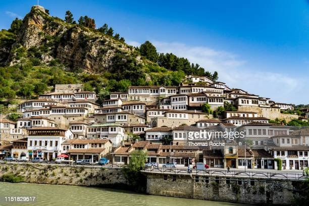 the famous architecture in the town of berat - albania stock pictures, royalty-free photos & images
