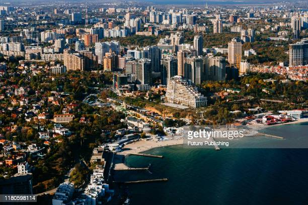 The famous Arkadiia resort neighbourhood is situated by the Black Sea as seen in the aerial image, Odesa, southern Ukraine.- PHOTOGRAPH BY Ukrinform...
