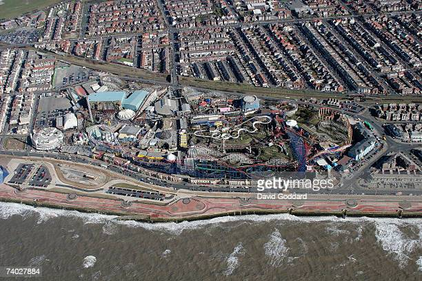 The famous Blackpool Pleasure Beach nestled between the Irish sea and the residential area of south shore in this aerial photo taken on March 12 2005...