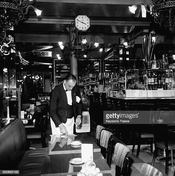The famous Brasserie Lipp in the SaintGermaindesPrés neighbourhood in October 1963 in Paris France