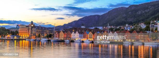 the famous bryggen - bergen, norway. - bergen norway stock pictures, royalty-free photos & images