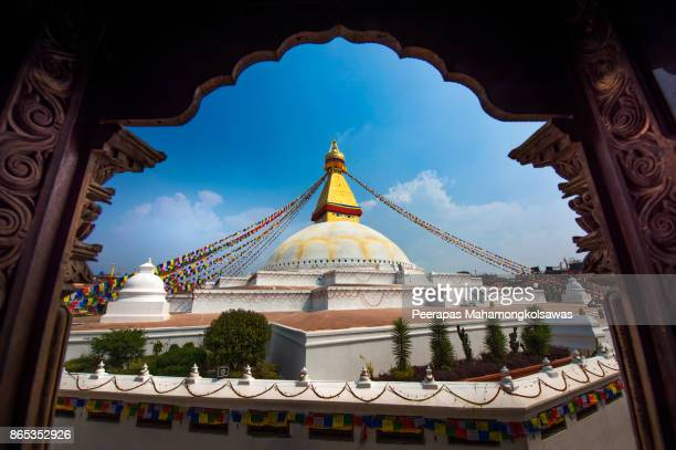 the famous buddhist stupa at boudanath in nepal. - kathmandu stock pictures, royalty-free photos & images