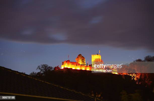 The famous Castle Landau illuminated on a hill on April 25 2010 in Klingenmuenster Germany The castle was built in the 12th century by the staufer...