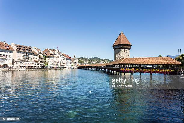 The famous Chapel bridge in Lucerne old town, Switzerland