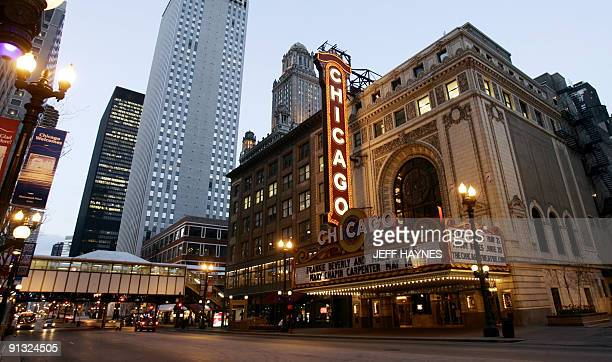 """The famous Chicago Theater along State Street in downtown Chicago 27 April, 2004. The theatre first opened 26 October with the silent film """"The Sign..."""