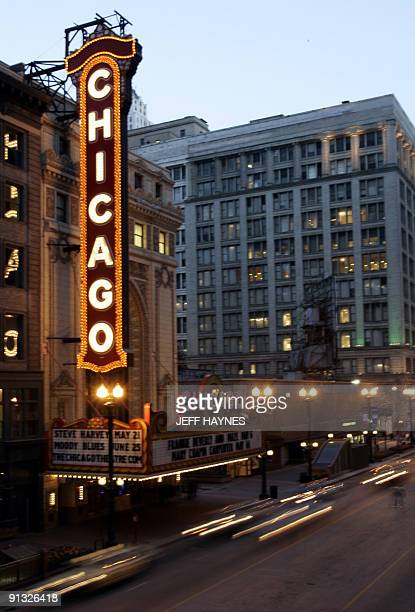 The famous Chicago Theater along State Street is shown 27 April 2005, in downtown Chicago, IL. The theatre first opened 26 October with the silent...