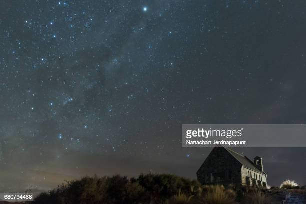 the famous church of the good shepherd with amazing milky way in the sky - eden pastora fotografías e imágenes de stock
