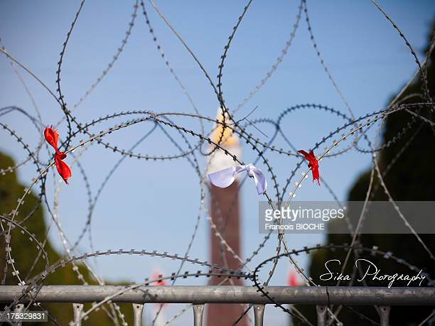 CONTENT] The famous clock in the center of Tunis behind the barbed wire of the Ministry of the InteriorThe ribbons were hung in memory of Chokri...