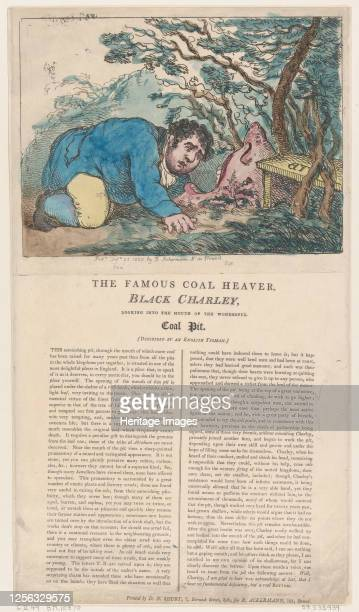 The Famous Coal Heaver Black Charley Looking into the Mouth of the Wonderful Coal Pit February 25 1805 Artist Thomas Rowlandson
