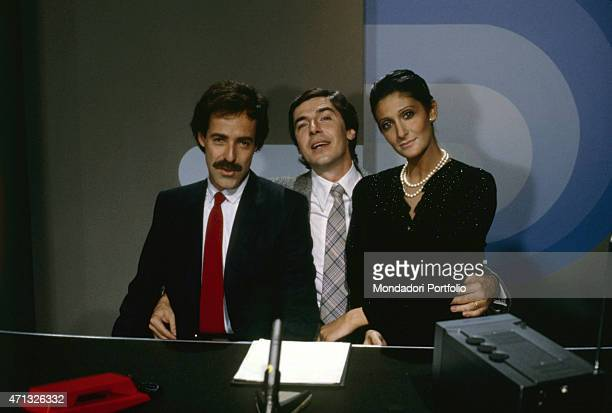 The famous comic Trio formed by Italian actor, comedian, imitator and singer Massimo Lopez, Italian actor and comedian Tullio Solenghi and Italian...
