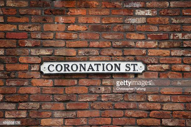 The famous Coronation St soap opera street sign hangs on the wall of the Rovers Return on November 21 2014 in Manchester England Christmas on the...
