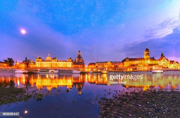 The famous Dresden Skyline with Elbe River at blue hour in Saxony,Germany.