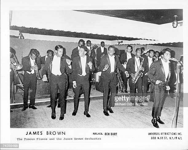The Famous Flames Bobby Bennett Bobby Byrd and Eugene Lloyd Stallworth and Godfather of Soul James Brown perform with the James Brown Orchestra in...