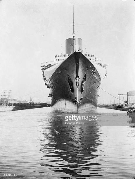 The famous French liner Normandie which won the Blue Riband on her first transatlantic crossing in 1935 She was the only vessel of the CGT to win the...