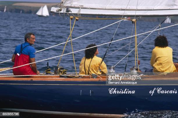The famous french navigator Eric Tabarly participates at the Douarnenez Old Boats Festival