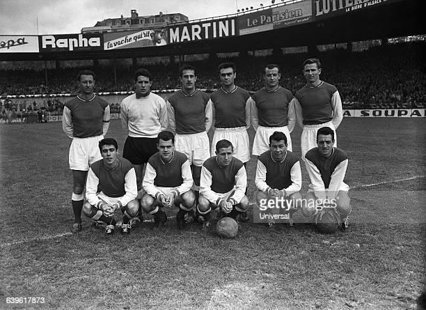 The famous French team of Stade de Reims. : Berard, Muller, Raymond Kopa, Just Fontaine, Jean Vincent. Robert Jonquet, Dominique Colonna, Wendling,...