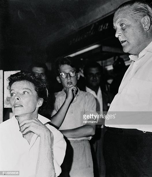 The famous gaunt features of the irrepressible actress Katharine Hepburn are for the moment forgotten as work continues apace on the set of the...