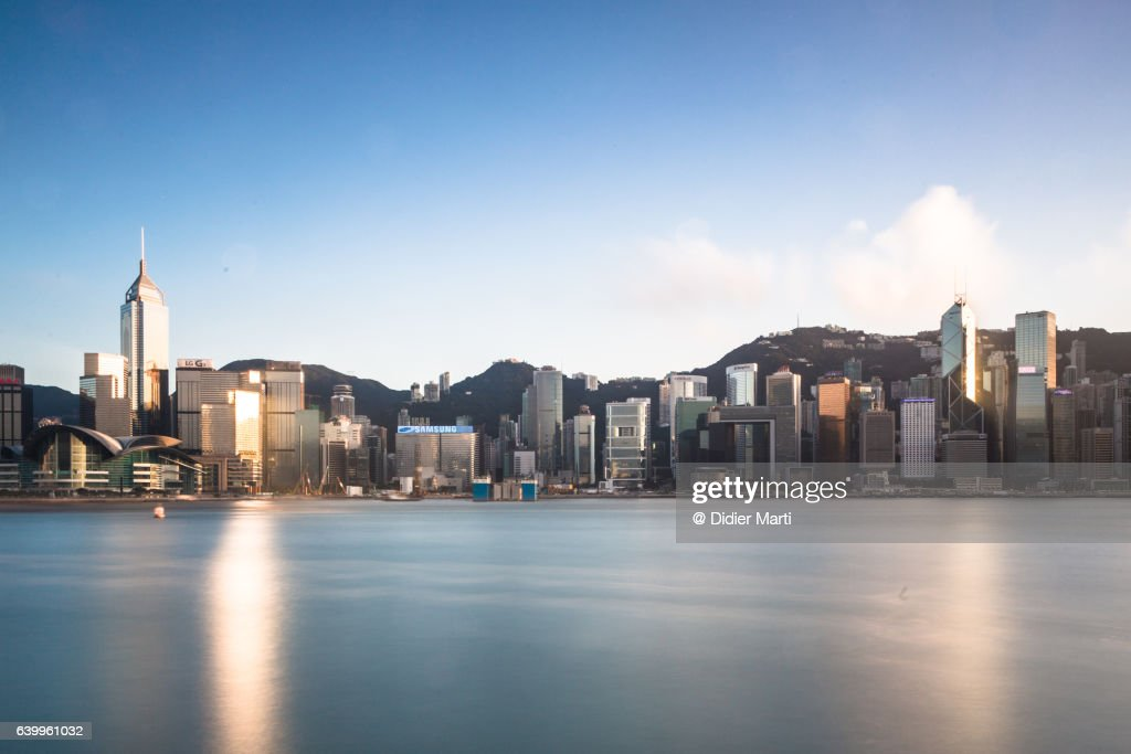 The famous Hong Kong island skyline captured with a long exposure : Stock Photo