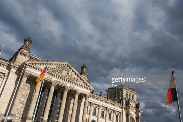The famous inscription on the architrave on the west portal of the Reichstag building in Berlin: 'Dem Deutschen Volke' with german flag and dramatic clouds in the sky (Berlin, Germany)