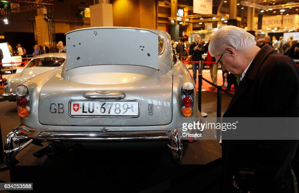 The famous James Bond's Aston Martin DB5 used in 'Goldfinger' and 'Thunderball' films is displayed during the Retromobile show on February 08 in...