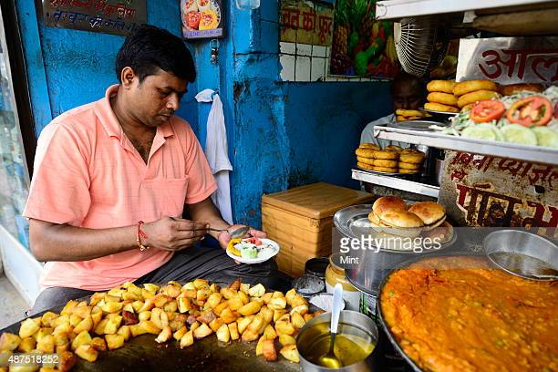 The famous Kulle chaat shop in Chawri Bazaar in Chandni Chowk on August 20 2014 in New Delhi India Chandni Chowk often called the food capital of...