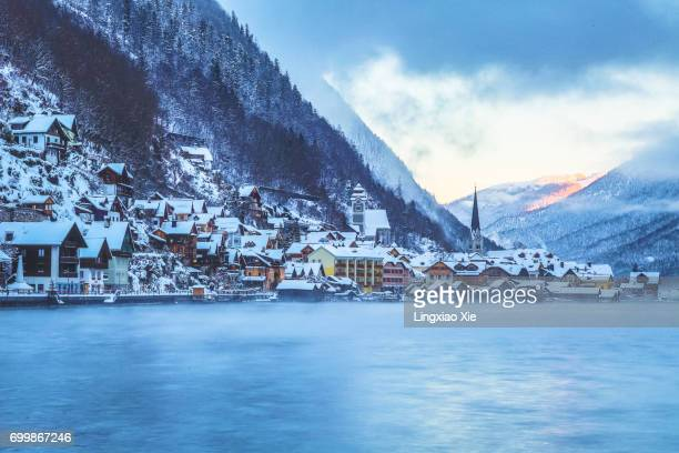 The famous lakeside Hallstatt village at sunrise, Austria