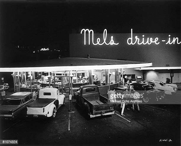 The famous landmark restaurant Mel's Drivein in a scene from the Universal City Studios production of 'American Graffiti' in 1973 in San Francisco...