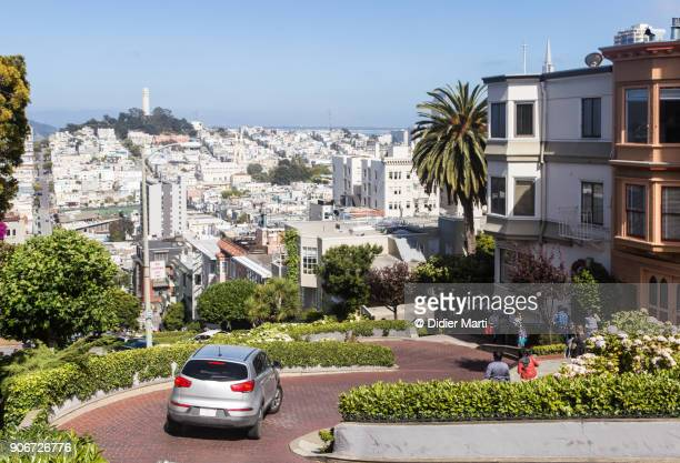 the famous lombard street in san francisco on russian hill - lombard street san francisco stock pictures, royalty-free photos & images
